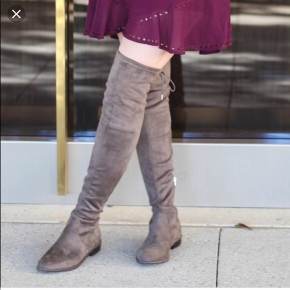 9b328495f Marc Fisher Shoes | Humor Over The Knee Boots 7 Taupe | Poshmark